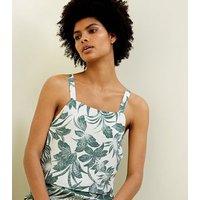 White Tropical Leaf Print Crop Top New Look