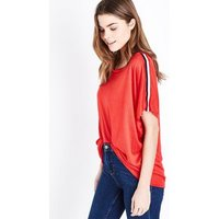 QED Red Stripe Sleeve Top New Look