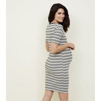 Maternity Black Stripe Ribbed Bodycon Dress New Look