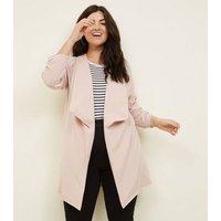 Curves Pink Longline Waterfall Blazer New Look