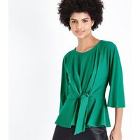 Cameo Rose Green Tie Front Top New Look