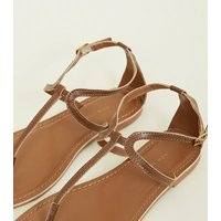 Wide Fit Tan Leather Flat Sandals New Look