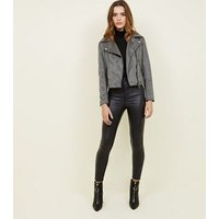 Dark Grey Suedette Biker Jacket New Look