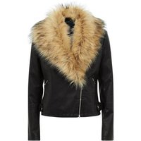 Black Leather-Look Faux Fur Collar Jacket New Look