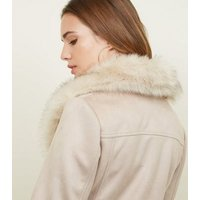 Stone Suedette Faux Fur Collar Jacket New Look