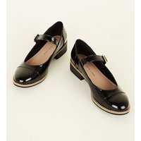Girls Black Patent Chunky Mary Jane Shoes New Look