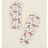 Girls White and Pink Pusheen Flip Flops New Look