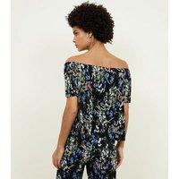 Black Floral Plisse Bardot Neck Top New Look
