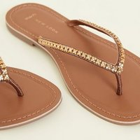 Wide Fit Tan Leather Floral Trim Sandals New Look
