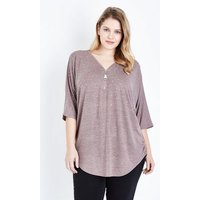 Blue Vanilla Curves Pale Pink Zip Front Top New Look