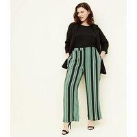 Curves Green Stripe Wide Leg Trousers New Look