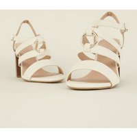 Wide Fit Off White Leather-Look Ring Strap Sandals New Look