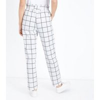 Cameo Rose White Grid Check Paperbag Waist Trousers New Look