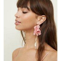 Pink Flower Tassel Drop Earrings New Look