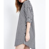 Apricot Black Gingham Shirt Dress New Look
