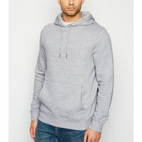 Grey Marl Pocket Front Hoodie New Look