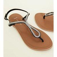 Wide Fit Black Leather Diamanté Flat Sandals New Look
