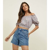 Blue Ditsy Floral Gathered Bardot Crop Top New Look