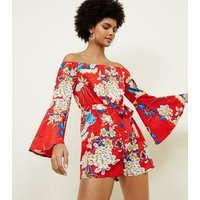 Parisian Red Floral Bardot Playsuit New Look