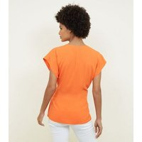 Bright Orange D-Ring Wrap Blouse New Look