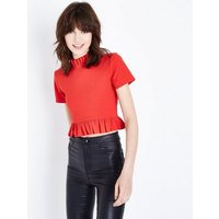 Cameo Rose Red High Neck Frill Trim Top New Look