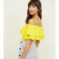 Cameo Rose Yellow Frill Cold Shoulder Top New Look