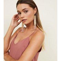 Pale Pink Beaded Tassel Drop Earrings New Look