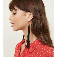 Black Long Beaded Tassel Drop Earrings New Look