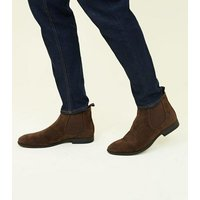 Dark Brown Faux Suede Chelsea Boots New Look
