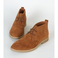 Mens Brown Faux Suede Desert Boots New Look