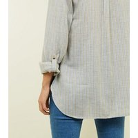 Light Grey Stripe Overhead Shirt New Look