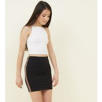 Teens Black Rainbow Side Stripe Tube Skirt New Look