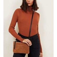 Tan Suede Zip Top Cross Body Bag New Look