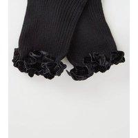 Black Velvet Frill Trim Ribbed Socks New Look