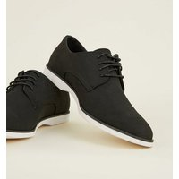 Grey Suedette Lace-Up Derby Shoes New Look