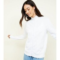 White Zip Front Sweatshirt New Look