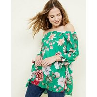 Cameo Rose Green Floral Tie Sleeve Top New Look