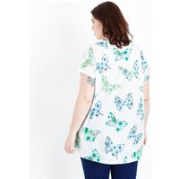 Blue Vanilla Curves White Butterfly Print T-Shirt New Look