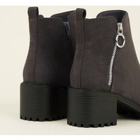 Grey Ring Zip Cleated Sole Ankle Boots New Look