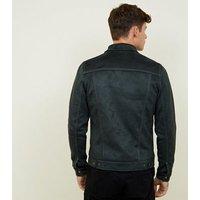 Mens Dark Green Faux Suede Western Jacket New Look