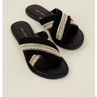Black Bead and Tassel Cross Strap Sliders New Look