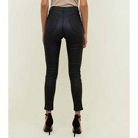 Black Coated High Waist Super Skinny Hallie Jeans New Look
