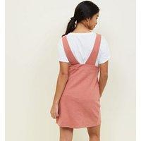 Petite Rust V Neck Mini Pinafore Dress New Look