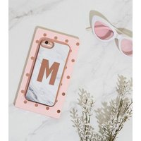 White Marble Effect M Initial iPhone 6/6s/7/8 Case New Look