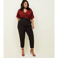 Curves Black Paperbag Waist Tapered Trousers New Look