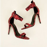 Red Faux Snakeskin Ankle Strap Stiletto Sandals New Look