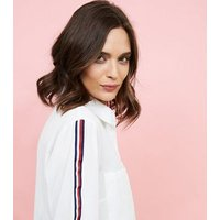 White Tape Sleeve Longline Shirt New Look