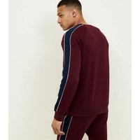 Burgundy Side Stripe Crew Neck Sweatshirt New Look