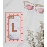 White Marble Effect L Initial iPhone 6/6s/7/8 Case New Look