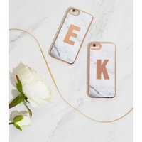White Marble Effect K Initial iPhone 6/6s/7/8 Case New Look